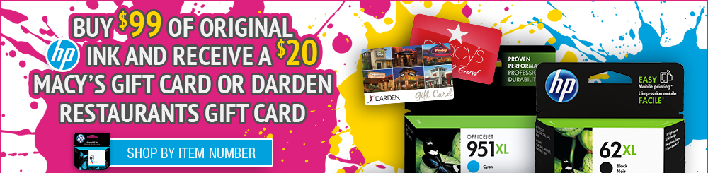 Shop HP Ink Macy's/Darden Gift Card Offer by Item Number