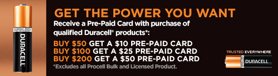 Receive a Pre-Paid Card with Qualified Duracell Purchase