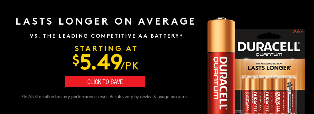 Save on Duracell Quantum Batteries