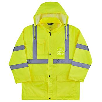 Ergodyne Glowear 8366 L Lime Lightweight Hi Vis Rain Jacket Type R Class 3 Wb Mason