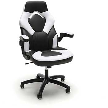 Essentials Collection Racing Style Bonded Leather Gaming Chair White Wb Mason