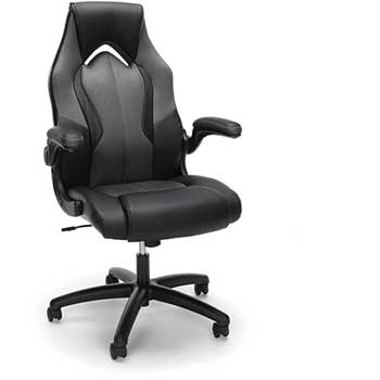 Essentials Collection High Back Racing Style Bonded Leather Gaming Chair Gray Wb Mason
