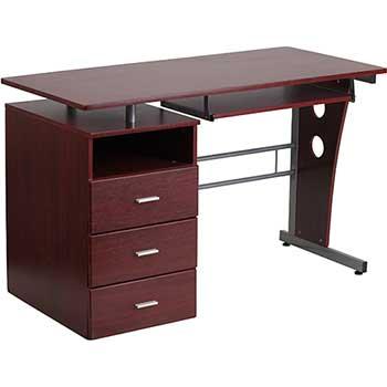Flash Furniture Desk With Three Drawer, Flash Furniture Frosted Computer Desk With 3 Drawer Pedestal White