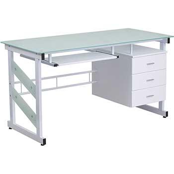 Flash Furniture Computer Desk With, Flash Furniture Computer Desk With 3 Drawer Pedestal Mahogany