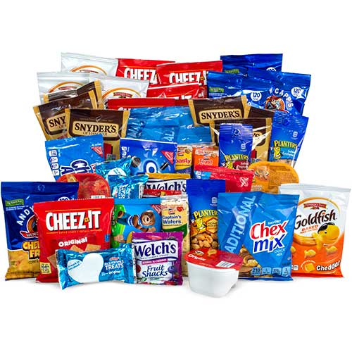 ultimate variety party snack box fruit snacks candy crackers cookies more 45 bx wb mason wb mason