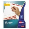 Print & Apply Clear Label Dividers, Index Maker® Easy Apply™ Printable Label Strip, 8 White Tabs