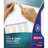 Print & Apply Clear Label Dividers, Index Maker® Easy Peel® Printable Labels for Copiers, 8 White Tabs, 5 ST/PK