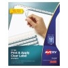 Print & Apply Clear Label Dividers, Index Maker® Easy Apply™ Printable Label Strip, 12 White Tabs