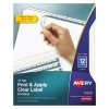 Print & Apply Clear Label Dividers, Index Maker® Easy Apply™ Printable Label Strip, 12 White Tabs, 5 ST/PK