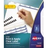 Print & Apply Clear Label Unpunched Dividers, Index Maker® Easy Apply™ Printable Label Strip, 3 White Tabs, 5 ST/PK