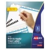 Print & Apply Clear Label Unpunched Dividers, Index Maker® Easy Apply™ Printable Label Strip, 5 White Tabs, 5 ST/PK