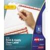 Print & Apply Clear Label Dividers, Index Maker® Easy Apply™ Printable Label Strip, 8 White Tabs, 5 ST/PK
