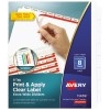 Print & Apply Clear Label Extra-Wide Dividers, Index Maker® Easy Apply™ Printable Label Strip, 8 White Tabs