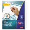 Print & Apply Clear Label Extra-Wide Dividers, Index Maker® Easy Apply™ Printable Label Strip, 5 White Tabs, 5 ST/PK
