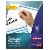 Print & Apply Clear Label Unpunched Dividers, Index Maker® Easy Apply™ Printable Label Strip, 5 White Tabs, 25/BX