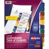 Customizable Table of Contents Dividers, Ready Index® Easy Edit Sleeve, Preprinted 1-10 Multicolor Tabs, 6 ST/PK
