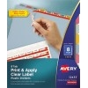 Print & Apply Clear Label Translucent Plastic Dividers, Index Maker® Easy Apply™ Printable Label Strip, 8 Multicolor Tabs, 5 ST/PK