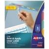 Print & Apply Clear Label Translucent Plastic Dividers, Index Maker® Easy Apply™ Printable Label Strip, 5 Multicolor Tabs, 5 ST/PK