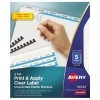 Print & Apply Clear Label Unpunched Translucent Plastic Dividers, Index Maker® Easy Apply™ Printable Label Strip, 5 Frosted Tabs, 5 ST/PK
