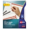 Print & Apply Clear Label Unpunched Translucent Plastic Dividers, Index Maker® Easy Apply™ Printable Label Strip, 8 Frosted Tabs, 5 ST/PK