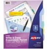 Write & Erase Plastic Dividers with Expandable Pockets & Corner Lock®, 5-Tab Set, Multicolor