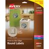 "Round Labels, Print to the Edge, Permanent Adhesive, Kraft Brown, 2 1/2"" Diameter, 225/PK"