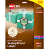 "Round Labels, Permanent Adhesive, Pearlized Ivory, Scallop Edge, 2 1/2"", 72/PK"