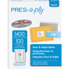"PRES-a-ply® White Labels, 1 1/3"" x 4"", Permanent-Adhesive, 14-up, 1400/BX"