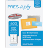 "PRES-a-ply® White Labels, 3 1/3"" x 4"", Permanent-Adhesive, 6-up, 600/BX"