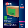"High-Visibility Shipping Labels, Permanent Adhesive, Neon Green, 8 1/2"" x 11"", 100/BX"