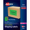 "High-Visibility Shipping Labels, Permanent Adhesive, Assorted Neon Colors, 5 1/2"" x 8 1/2"", 200/BX"