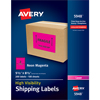 "High-Visibility Shipping Labels, Permanent Adhesive, Neon Magenta, 5 1/2"" x 8 1/2"", 200/BX"