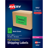 "High-Visibility Shipping Labels, Permanent Adhesive, Neon Green, 5 1/2"" x 8 1/2"", 200/BX"