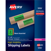 "High-Visibility Shipping Labels, Permanent Adhesive, Assorted Neon Colors, 2"" x 4"", 500/BX"