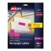 "High-Visibility Labels, Permanent Adhesive, Neon Magenta, 1"" x 2 5/8"", 750/PK"