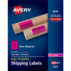 "High-Visibility Shipping Labels, Permanent Adhesive, Neon Magenta, 2"" x 4"", 1000/BX"