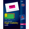 "High-Visibility Labels, Permanent Adhesive, Assorted Neon Colors, 2"" x 4"", 150/PK"