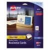 """Clean Edge® Business Cards, True Print® Matte Ivory, Two-Sided Printing,2"""" x 3 1/2"""", 200/PK"""