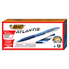 Atlantis Ballpoint Retractable Pen, Blue Ink, Medium, 1mm, Dozen