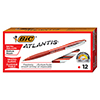 Atlantis Ballpoint Retractable Pen, Red Ink, Medium, 1mm, Dozen