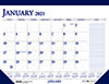 """Recycled Two-Color Monthly Desk Pad Calendar w/Large Notes Section, 22"""" x 17"""", 2021"""