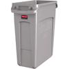 Slim Jim® Waste Container w/Handles, Rectangular, Plastic, 16gal, Light Gray
