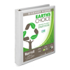 Earth's Choice Biobased 3 Ring View Binder, 1 Inch D-Ring, Customizable Clear View Cover, White