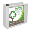 Earth's Choice™ Biobased 3 Ring View Binder, 4 Inch D-Ring, Customizable Clear View Cover, White