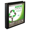 Earth's Choice™ Biobased 3 Ring View Binder, 1 Inch Round Ring, Customizable Clear View Cover, Black