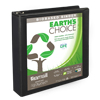 Earth's Choice™ Biobased 3 Ring View Binder, 1.5 Inch Round Ring, Customizable Clear View Cover, Black