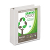Earth's Choice™ Biobased 3 Ring View Binder, 2 Inch Round Ring, Customizable Clear View Cover, White
