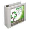 Earth's Choice™ Biobased 3 Ring View Binder, 3 Inch Round Ring, Customizable Clear View Cover, White