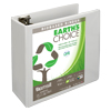 Earth's Choice™ Biobased 3 Ring View Binder, 4 Inch Round Ring, Customizable Clear View Cover, White