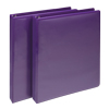 Fashion Color Durable 3 Ring View Binders, 1 Inch Round Ring, Customizable Clear View Cover, Purple, Two Pack